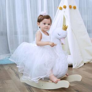 Cheval À Bascule Blanc Peluche Cygne Animal Enfant Bébé Jouets