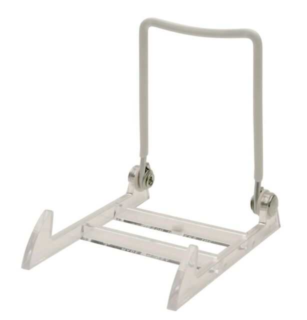 12 LARGE Acrylic Display Easels use w Carnival Glass Depression Plate Bowl NIB