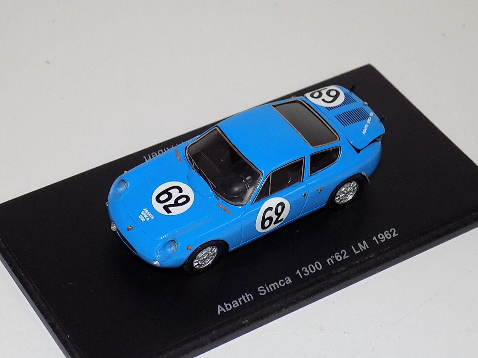 1 43 SPARK ABARTH SIMCA 1300 voiture de  62 24 H du Mans 1962 S1307