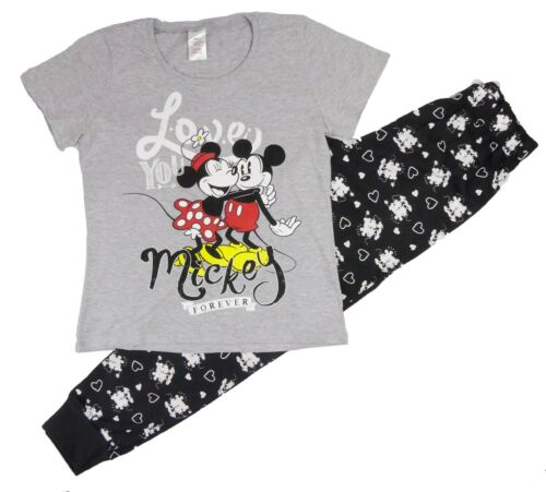 Ladies Girls Minnie Mouse Pyjamas Pajamas Lounge Wear T shirt Trousers Set