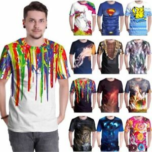 3D-Printed-Anime-Film-Men-039-s-Funny-T-shirts-Short-Sleeve-Tee-Slim-Casual-Tops