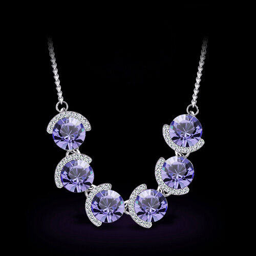 Woman Genuine 18K Platinum Austrian Violet Crystal Necklace TI00138