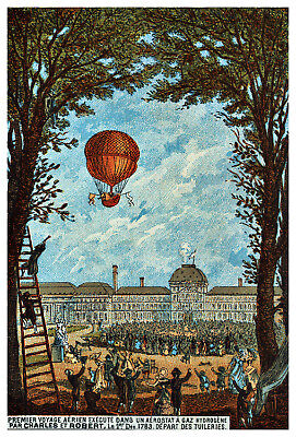 Aerial Voyages over London Vintage Style 1870s Hot Air Balloon Ride Poster 20x30
