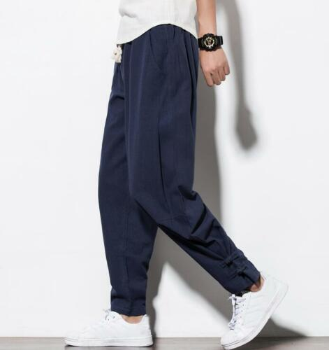 M-5XL Mens Cotton Linen Chinese Retro Harem Pants Casual Loose Trousers Hot K33