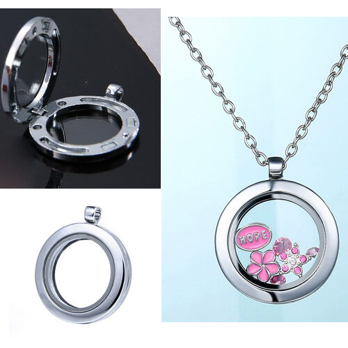 2017 Floate Living Memory Glass  Round Locket Pendant Necklace Without Charms