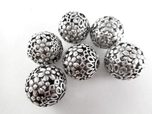 3 Silver Plated 17mm Floral Ball Beads Findings 66110