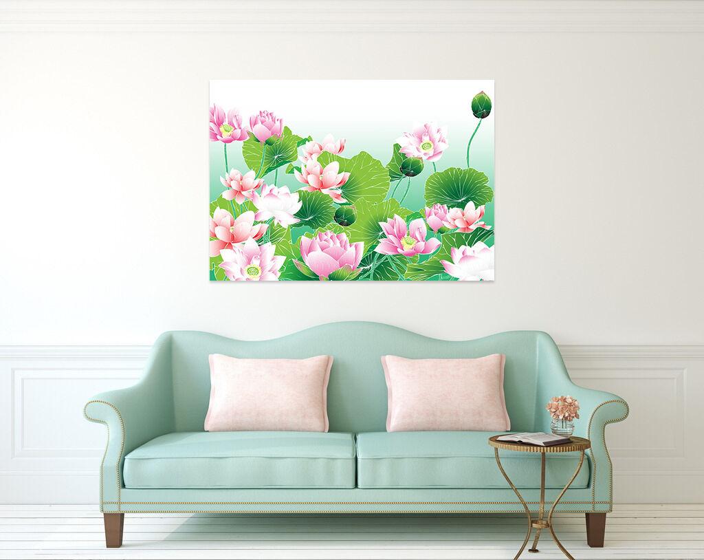 3D Rosa Lotus Grüne Blätte 8465 Fototapeten Wandbild BildTapete AJSTORE DE Lemon | Angemessener Preis  | Neuheit Spielzeug  | Verwendet in der Haltbarkeit