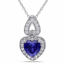 Amour Sterling Silver Created Blue and White Sapphire Heart Necklace