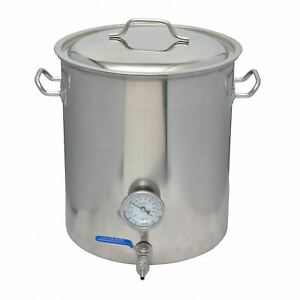 40l 10 Gallon Stainless Steel Brewing Kettle With Ball Valve Thermometer Ebay