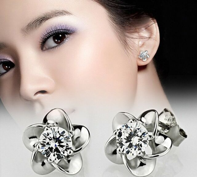 925 Silver Plated Earrings Stud Platinum Plated Allergy Free Crystal Fashion e