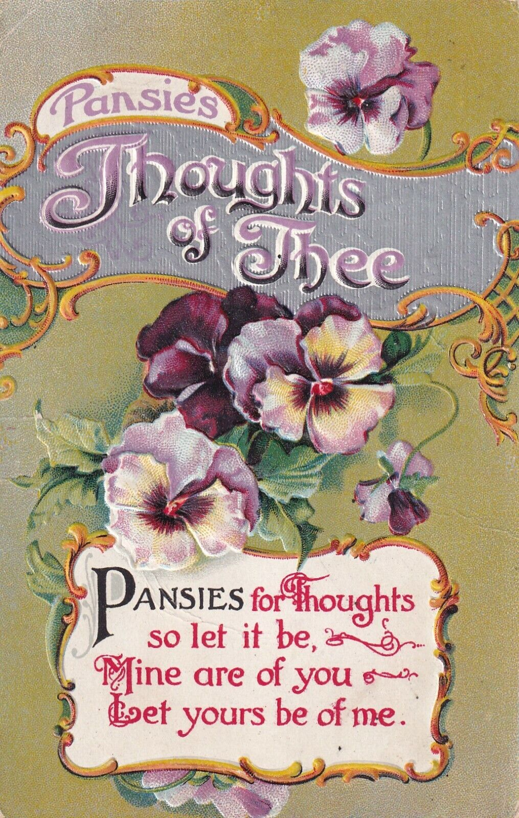 Thoughts of Thee, Pansies Poem, PU-1911