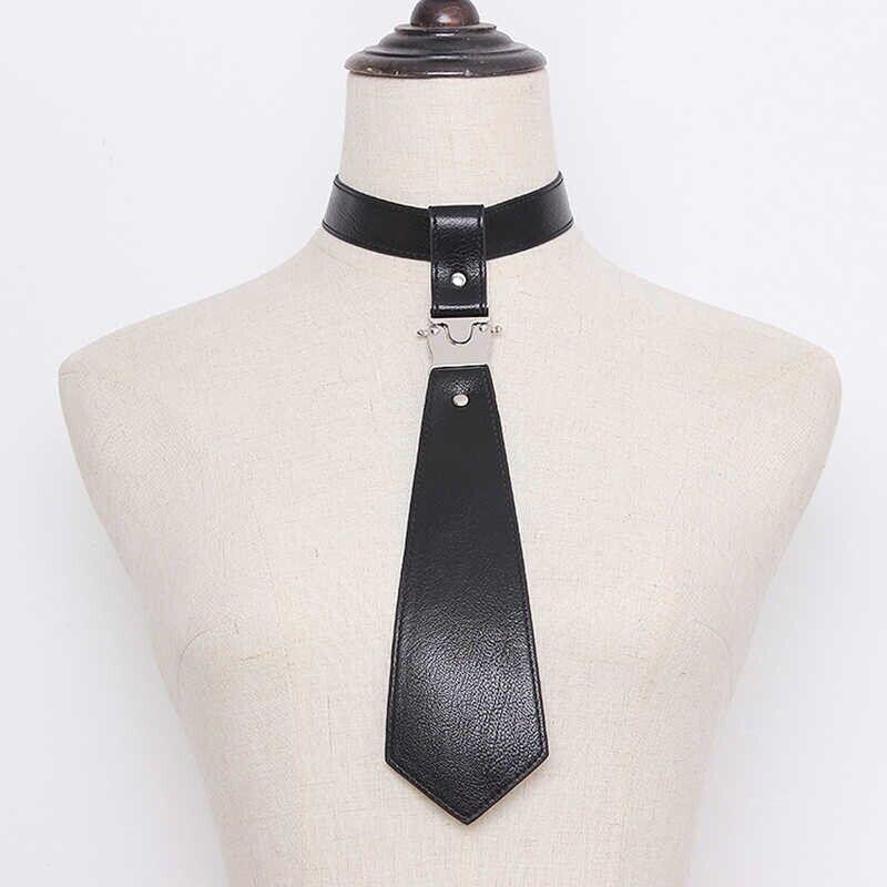 Black Faux Leather Neck Tie Women's Cool Punk Metal Buckle Neck Accessories