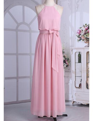 Women Halter Chiffon Wedding Fromal Evening Party Bridesmaid Long Maxi Dress