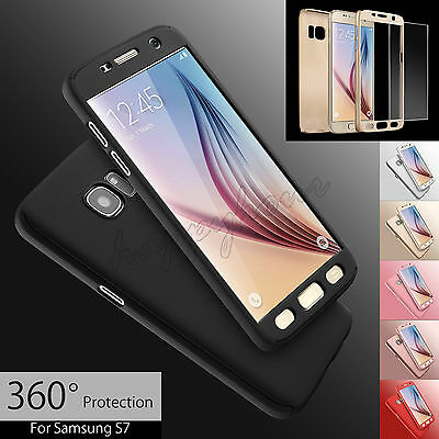 Hybrid 360° Full Hard Case+Tempered Glass Cover For Samsung Galaxy S6 S7 Edge