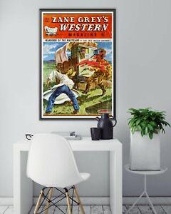 "1948 Western Pulp Magazine POSTER! (up to full-size 24"" x 36"") - Zane Grey - Art"