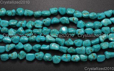 Blue Howlite Turquoise Gemstone 12mm Freeformed Nugget Loose Beads 16'' Strand