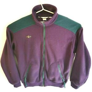 VTG-80s-90s-Men-039-s-Columbia-Radical-Sleeve-Purple-Green-Fleece-Zip-up-sweater-L