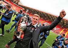 Bournemouth manager Eddie Howe with Championship Trophy Poster