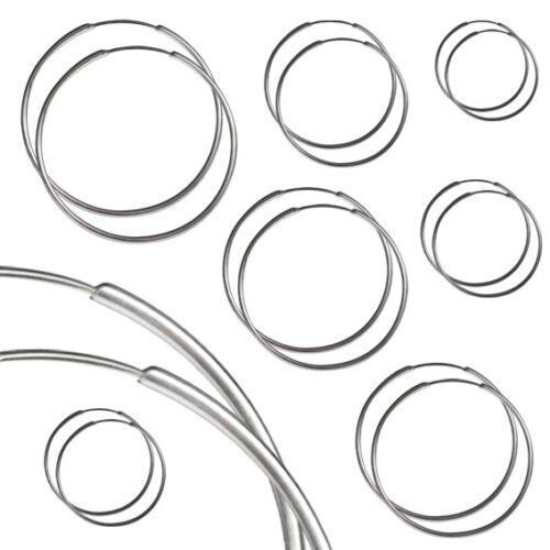 2 Creolen Ohrringe 925 Sterling Silber Echt Schmuck Ohrstecker Dünn Ø 10-80mm