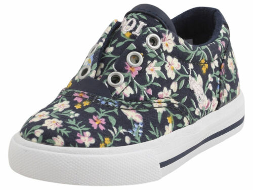 Polo Ralph Lauren Toddler Girl/'s Vito-II Navy//Multi Floral Sneakers Shoes