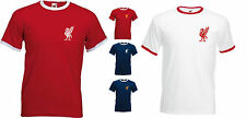LIVERPOOL LIVER BIRD, Small Lapel Logo, RED/WHITE RINGER T-SHIRT, S/M/L/XL/XXL