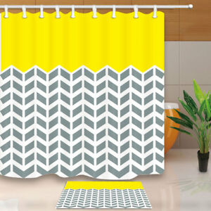 Image Is Loading Yellow Gray Chevron Zigzag Pattern Polyester Fabric Shower
