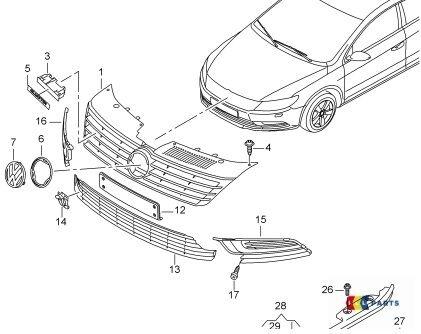 ORIGINALE VW CC 12-16 R-LINE PARAURTI INFERIORE DESTRO O//S Sinistro N//S FOG LIGHT Trim Set