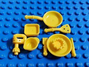Lego Friends Minifigure Kitchen Accessories Lot Chef Baker Mixer Spatula Yellow Ebay