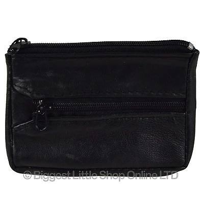 NEW Mens Womens Soft Black LEATHER Key/Coin PURSE by Lorenz Change Chain Handy
