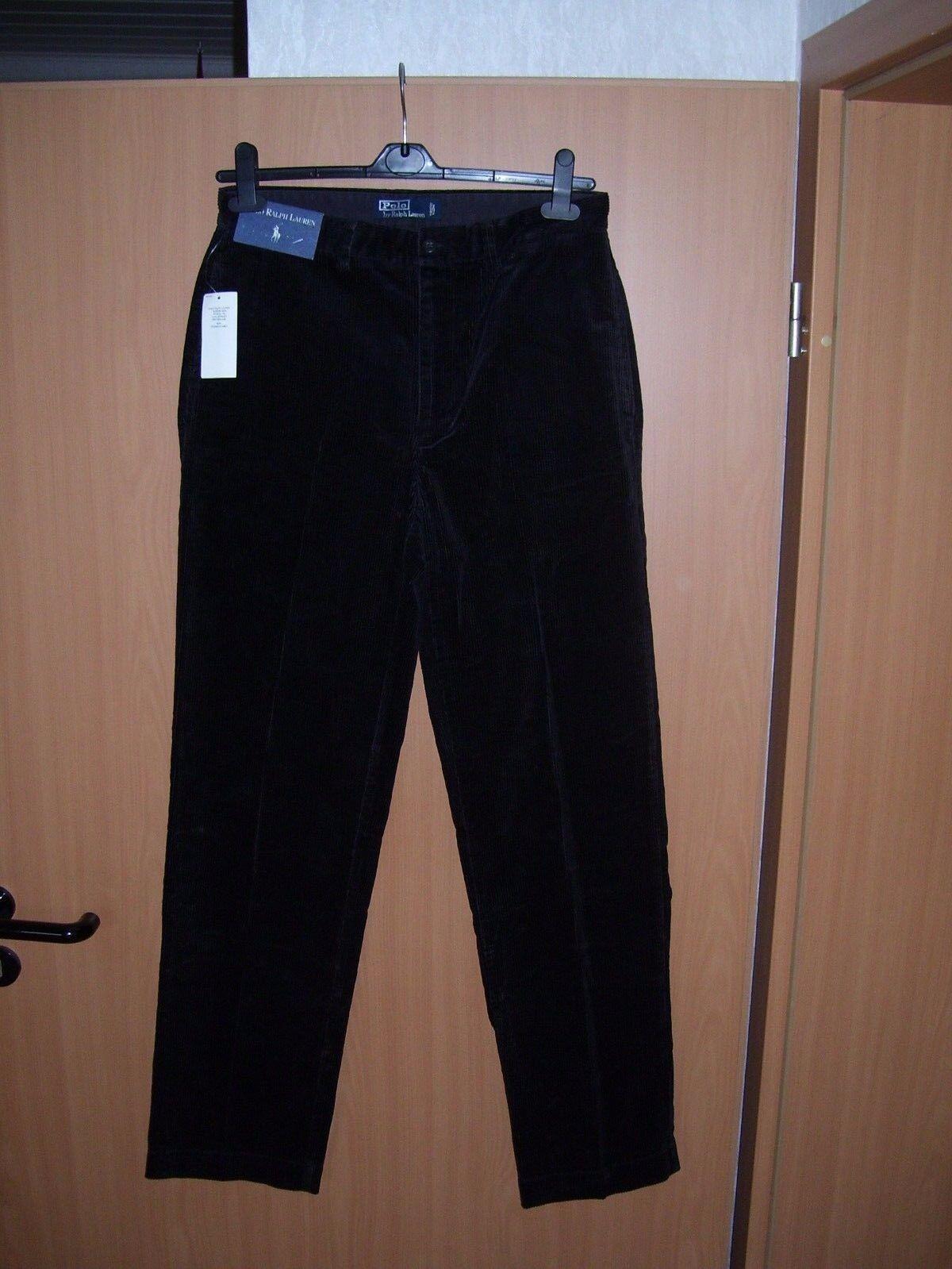 Polo Ralph Lauren Herren Cord Hose Cordhose mit Bügelfalte schwarz W32 L34 neu