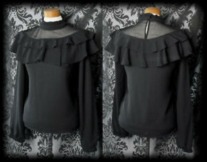 Gothic-Black-Sheer-Frill-Bib-GOVERNESS-High-Neck-Blouse-10-12-Victorian-Vintage