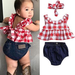 USA Summer Baby Girl Clothes 3Pcs Outfits Set Dress Tops+Denim Pants ... 48313444c83