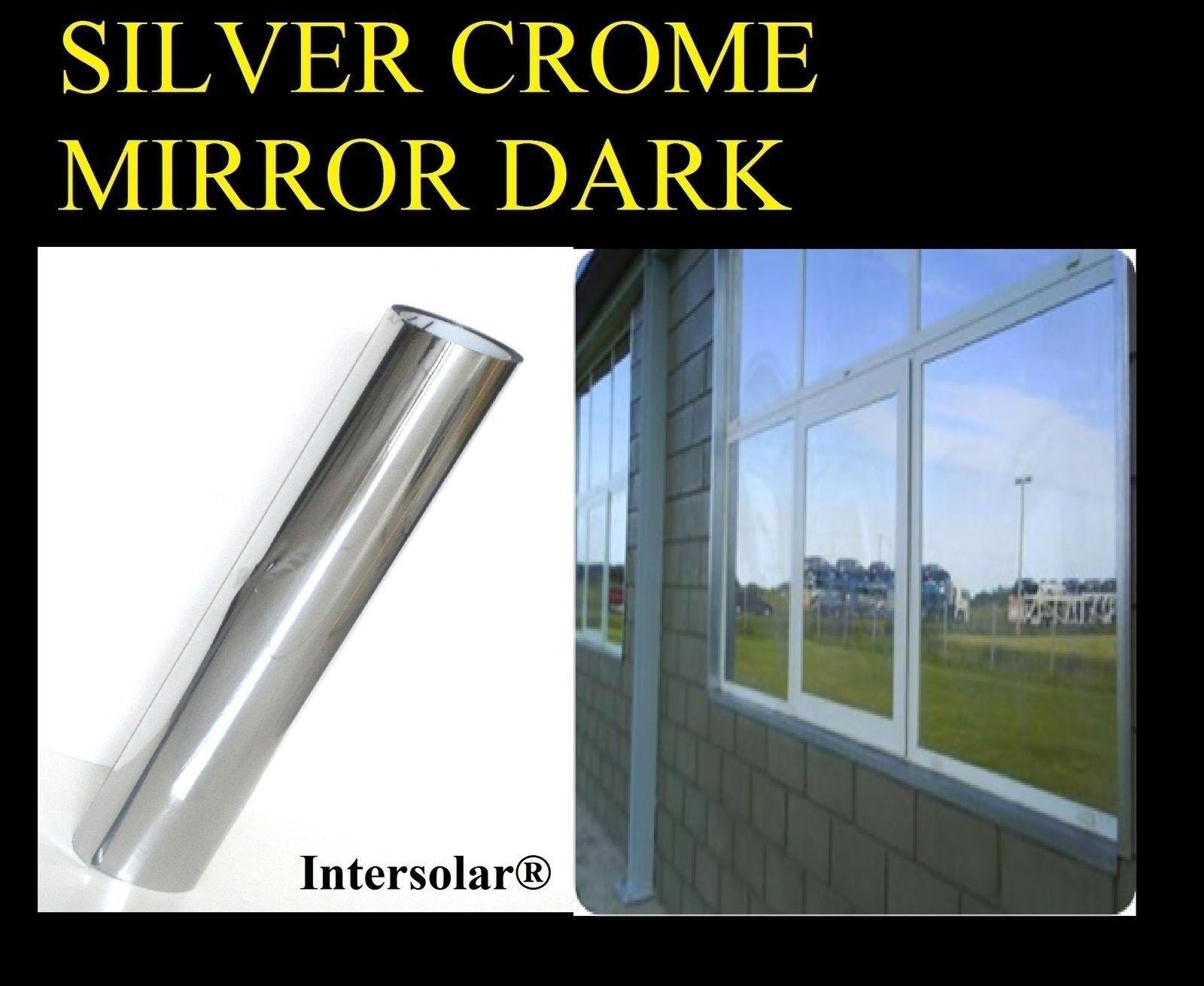 40  X100' Casa tintado Plateado negro película Crome Espejo parada Calor 2ply 05% Oscuro