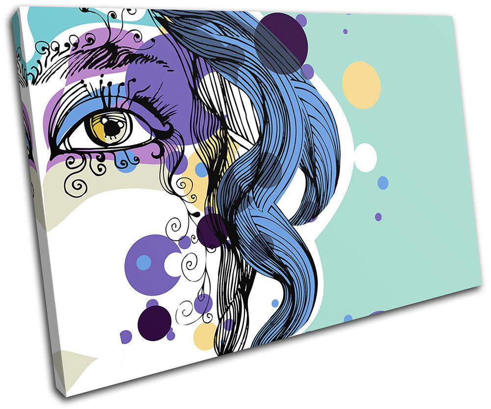 Abstract Girl Blau Fashion SINGLE Leinwand Wand Kunst Bild drucken