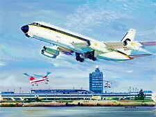 PAINTING TRANSPORT AIRPORT NEW YORK PLANE HELICOPTER RUNWAY USA POSTER LV2936