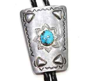 18 Vintage Navajo Turquoise & Sterling Bolo Slide With Sterling Tips