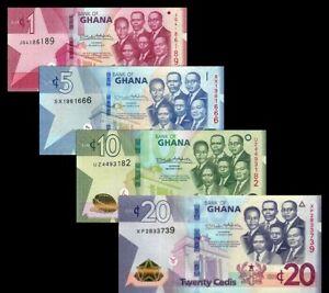 GHANA-SET-4-pcs-2019-1-5-10-20-CEDIS-UNC-NEW