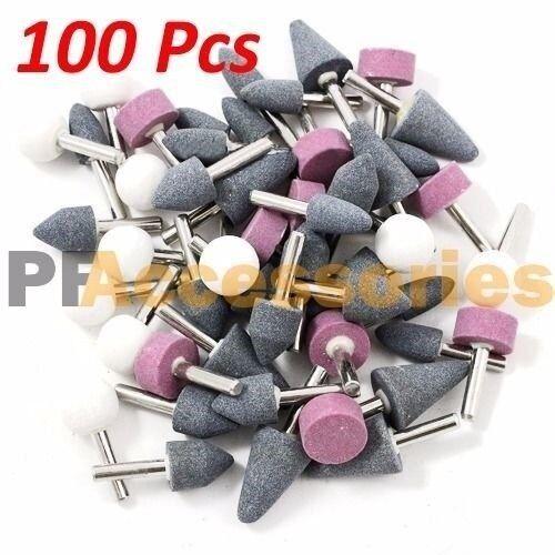 "100 Pcs 1//8/"" inch Assorted Mounted Stone Point Abrasive Grinding Wheel Bit Set"