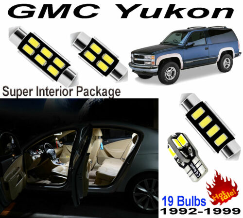 19 bulbs Xenon White 5630 LED Interior Light Kit Package For GMC Yukon 1992-1999