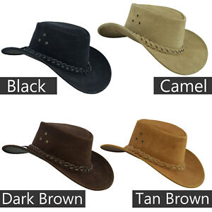 Australian-Western-style-Cowboy-Real-Leather-Bush-hat-with-Chin-Strap