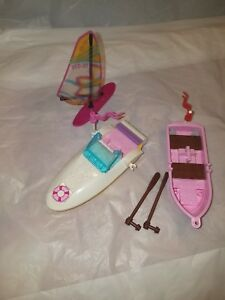 LEGO-Friends-3-Boats-Lot-Row-Boat-w-Oars-and-Sail-Boat