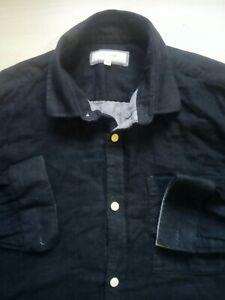Mens-River-Island-Blue-Long-Sleeve-Cotton-Shirt-Size-M-Medium