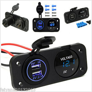 12V-Dual-USB-Charger-Adapter-Blue-LED-Voltmeter-Waterproof-Car-Boat-Marine-Panel