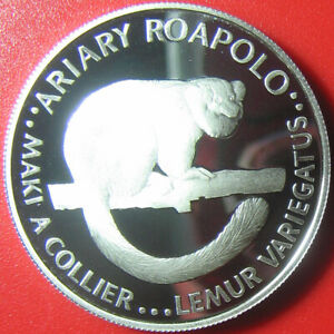 1988-MADAGASCAR-20-ARIARY-SILVER-PROOF-LEMUR-WWF-WORLD-WIDLIFE-FUND-RARE-ANIMAL