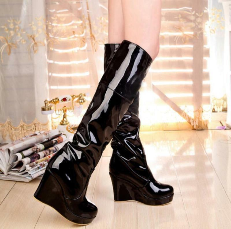 Europe Women Shiny Leather Pull On Knight shoes Warm Wedge Heel Knee High Boots
