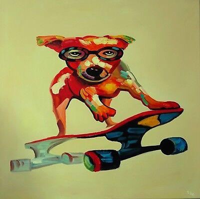 FineDecoArt Gemälde Leinwand Bilder gemalt XXL Hund Terrier Skateboard abstrakt