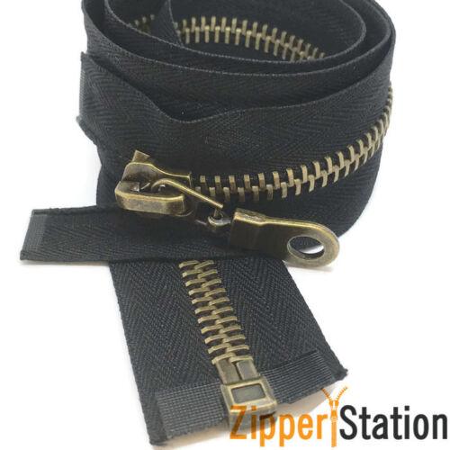 Antique Brass Gold N8 Zippers Gun Metal Heavy Duty Metal #8 Open End Zips