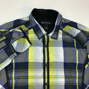 INC-International-Concepts-Pearl-Snap-Shirt-Mens-Medium-Long-Sleeve-Plaid-Casual