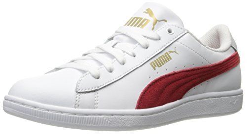 NEW PUMA WOMEN'S VIKKY LS SOFT FOAM FASHION SNEAKER SHOES WHITE RED LEATHER