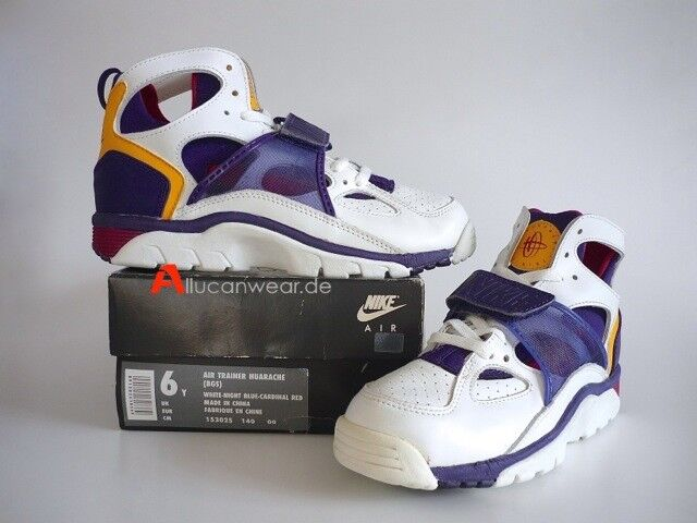 UNWORN 1992 VINTAGE NIKE AIR TRAINER HUARACHE SPORT SHOES BOOTS AGASSI HI TOPS